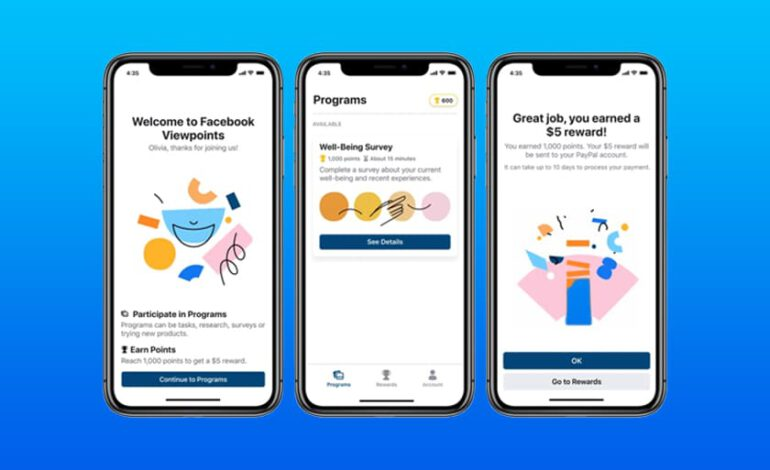 Viewpoints, une application de Facebook qui rémunère ses utilisateurs