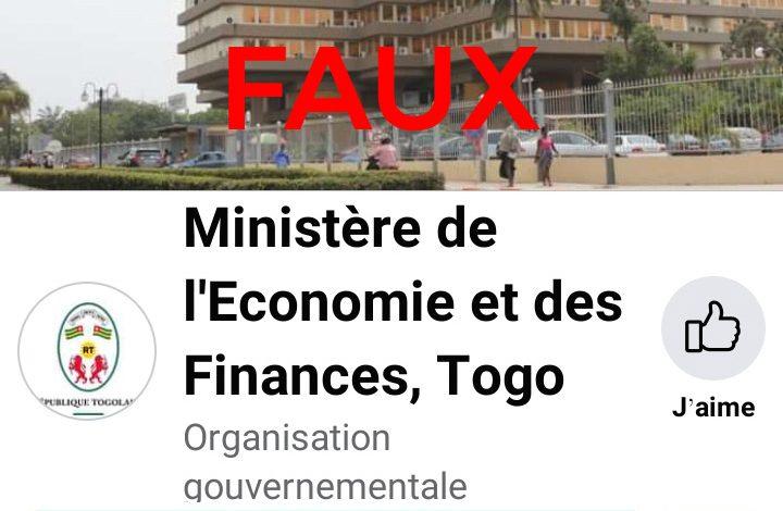 Arnaque au Togo : attention, le ministère de l'économie et des finances n'a pas de page Facebook !
